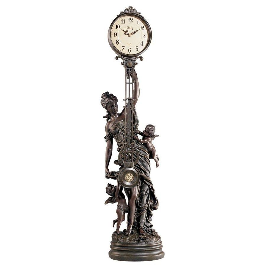 Design Toscano Flora Swinging Pendulum Analog Round Indoor Tabletop Standard Clock