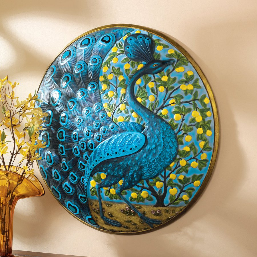 Shop design toscano 22 in w x 22 in h frameless resin for Peacock wall art