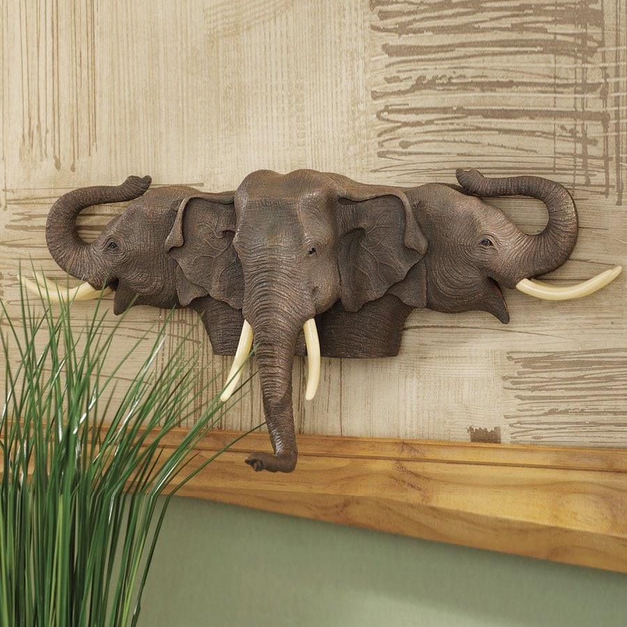 Design Toscano 19-in W x 9-in H Frameless Resin Raised Expectations Elephants Sculpture Wall Art