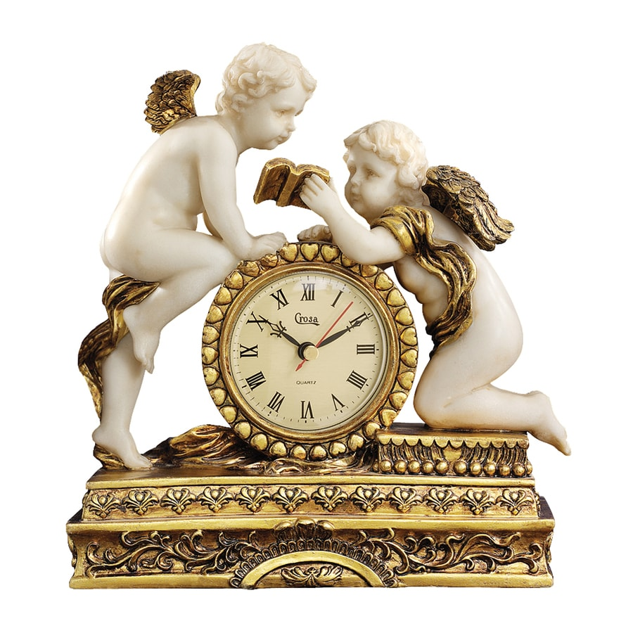 Design Toscano Cheteau Carbonne Cherub Analog Round Indoor Mantel Standard Clock