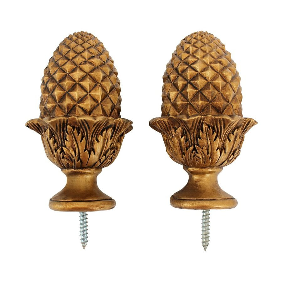 New Shop Design Toscano Acorn 2-Pack Gold Wood Curtain Rod Finials at  GT05