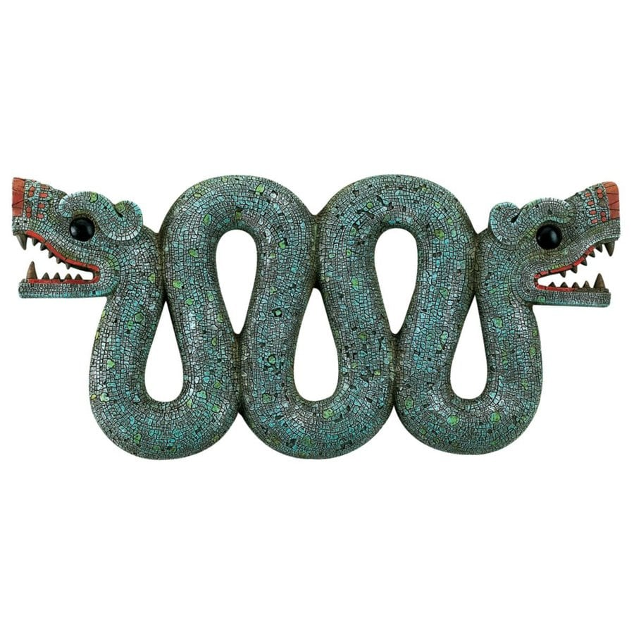 Design Toscano 16.5-in W x 7.5-in H Frameless Resin Aztec Double-Headed Serpent Sculpture Wall Art