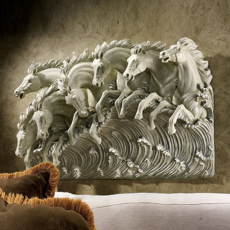 Design Toscano 31.5-in W x 22-in H Frameless Resin Neptune's Horses Of The Sea Sculpture Wall Art