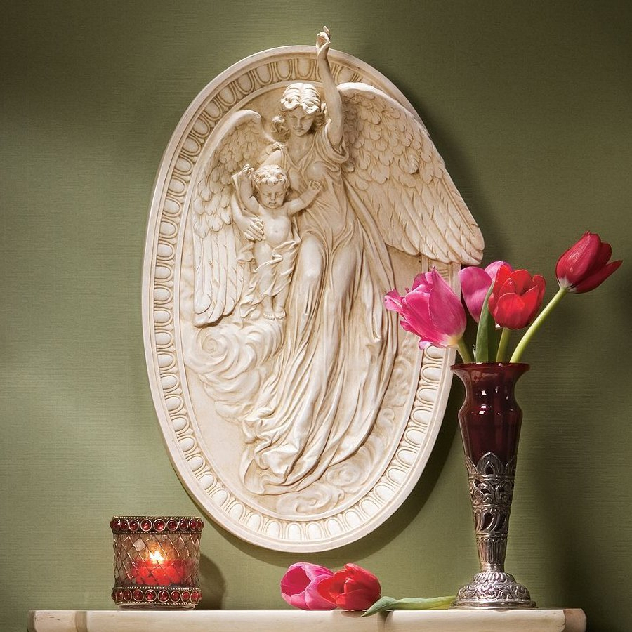 Design Toscano 12-in W x 18-in H Frameless Resin Angel Of Grace Sculpture Wall Art