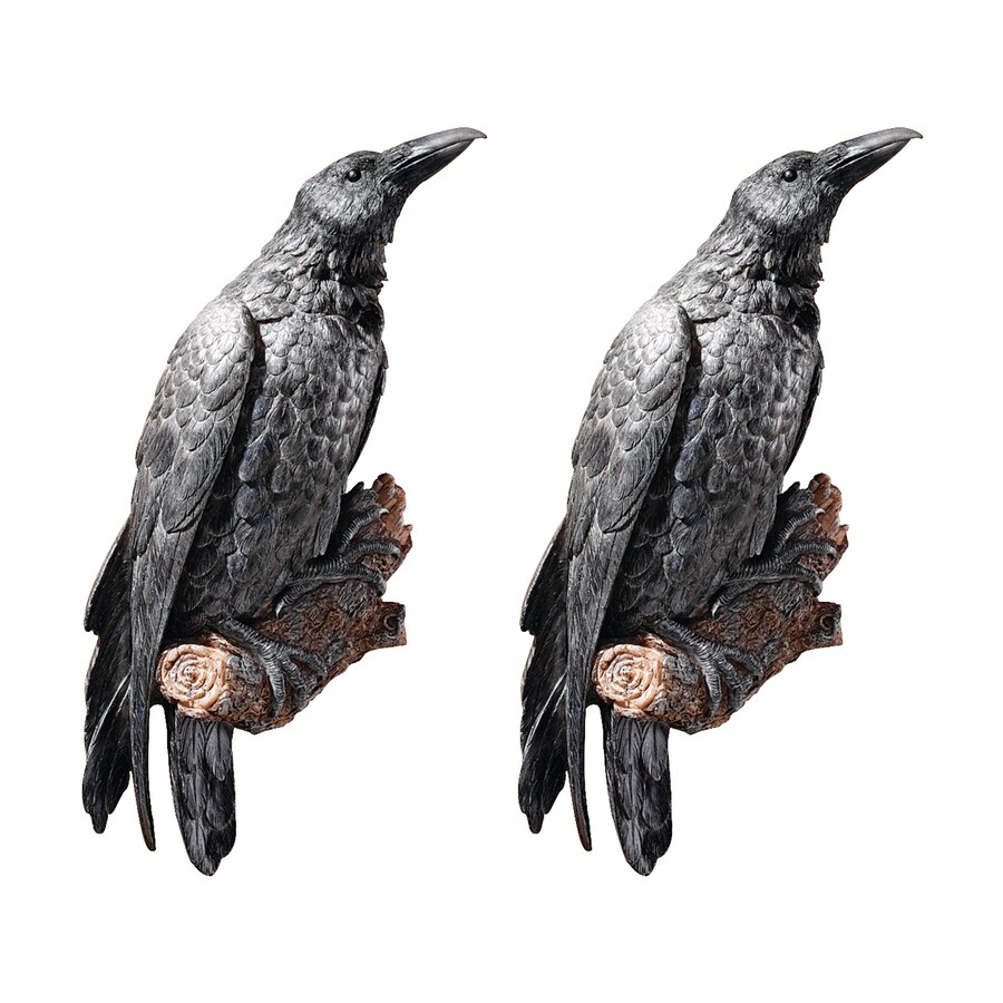 Design Toscano 2-Piece 7.5-in W x 18-in H Frameless Resin Raven's Perch Sculpture Wall Art