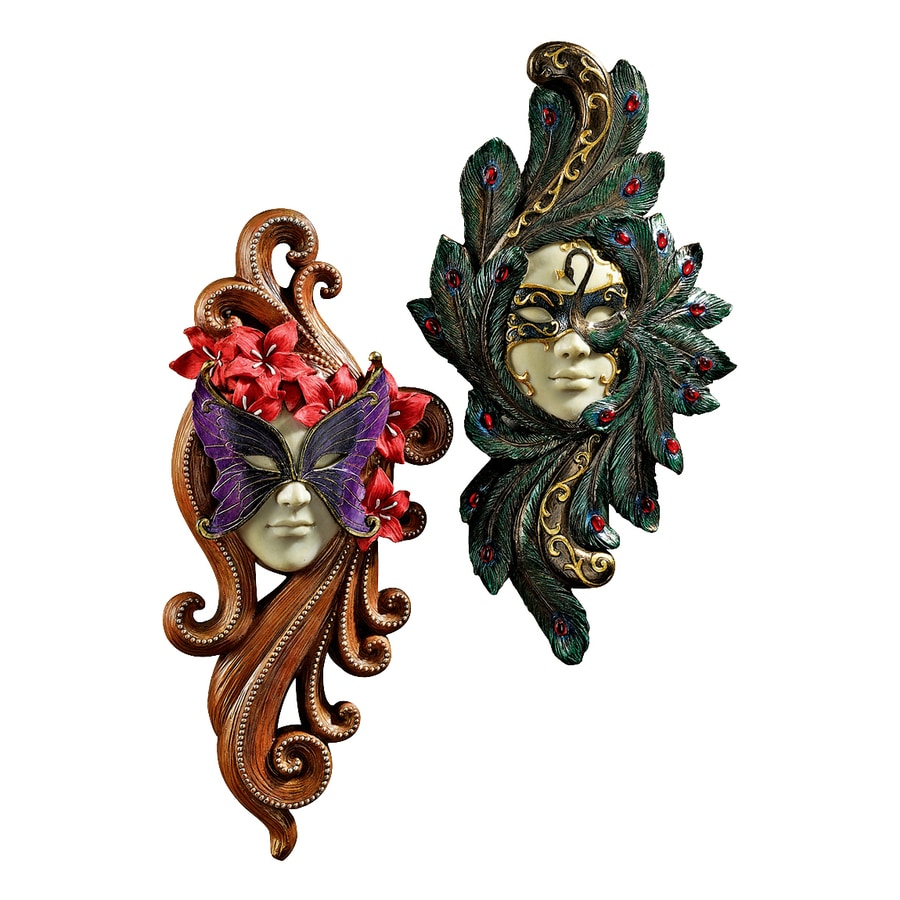Design Toscano 2-Piece 7-in W x 14-in H Frameless Resin Masquerade At Carnivale Masks Sculpture Wall Art