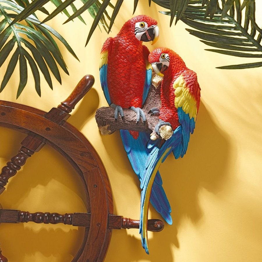 Design Toscano 9.5-in W x 22-in H Frameless Resin Tropical Scarlet Macaws Sculpture Wall Art