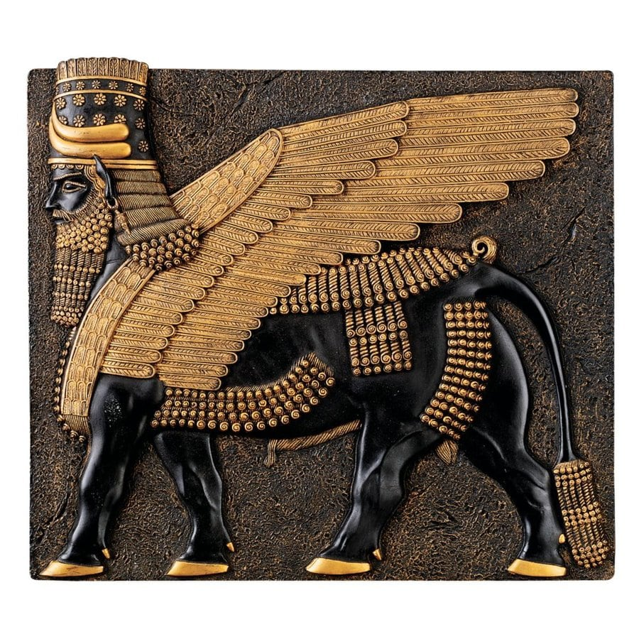 Design Toscano 10-in W x 9-in H Frameless Resin Assyrian Winged Bull Sculpture Wall Art