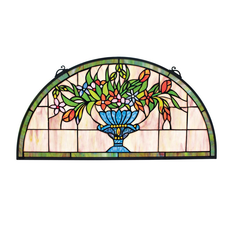 Design Toscano 24-in W x 12-in H Frameless Glass Titchfield Abbey Demi-Lune Stained Glass Wall Art