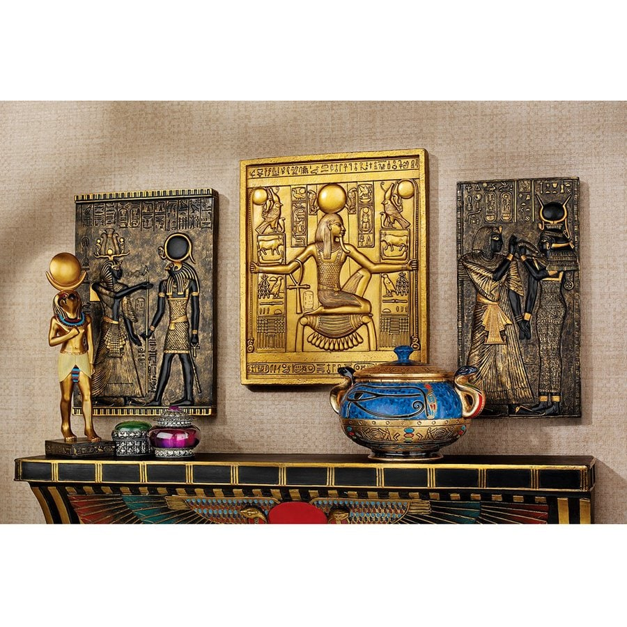 Design Toscano 3-Piece W x H Frameless Resin Egyptian Temple Stele Sculpture Wall Art