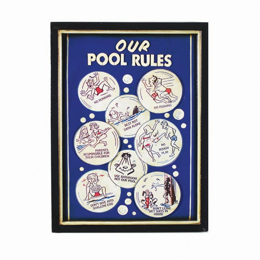 RAM Gameroom Products 16-in W x 22-in H Framed MDF Pool Rules Sign Wall Art