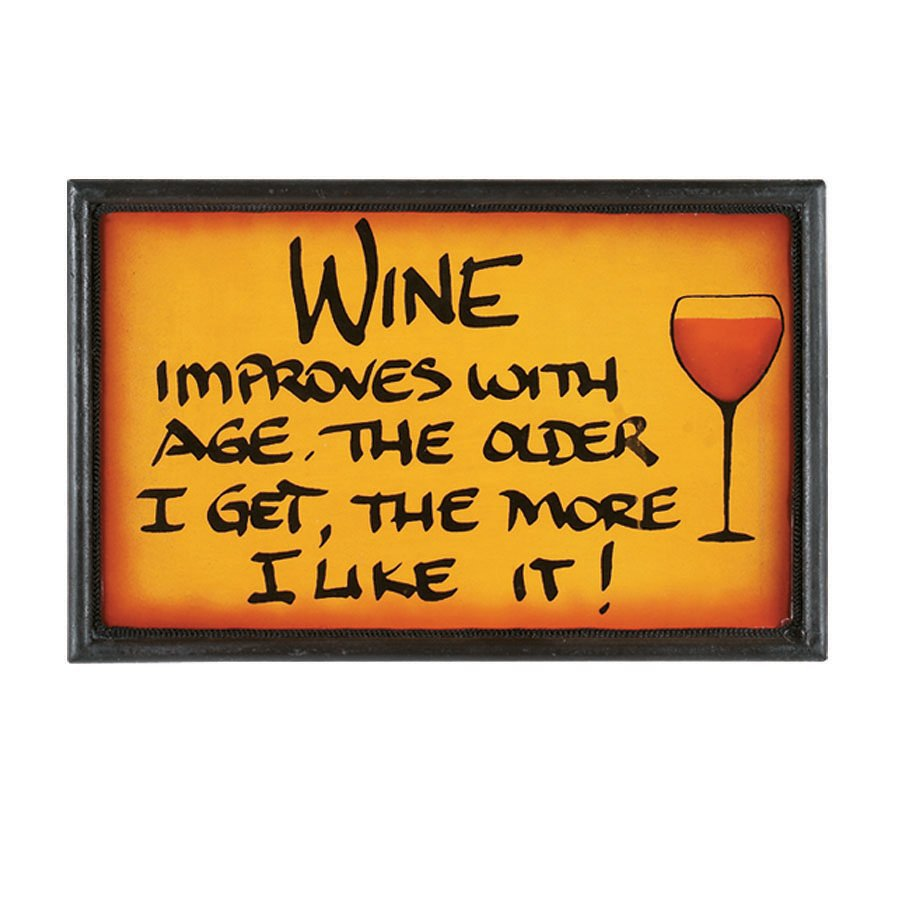 RAM Gameroom Products 13-in W x 8-in H Framed MDF Wine Improves Sign Wall Art
