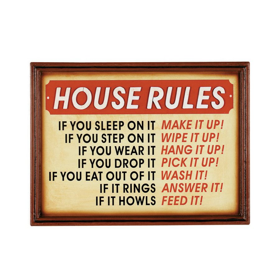 RAM Gameroom Products 15-in W x 11-in H Framed MDF House Rules Sign Wall Art
