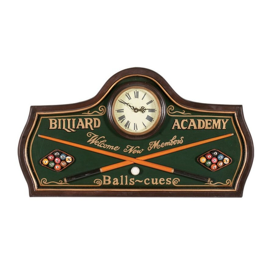 RAM Gameroom Products Billiard Academy Analog Rectangle Indoor Wall Clock