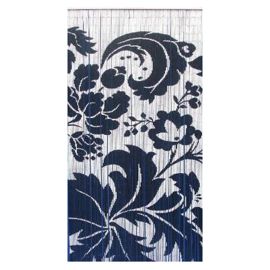 Bamboo 54 Floras 80-in Black/White Bamboo Semi-Sheer Single Curtain Panel