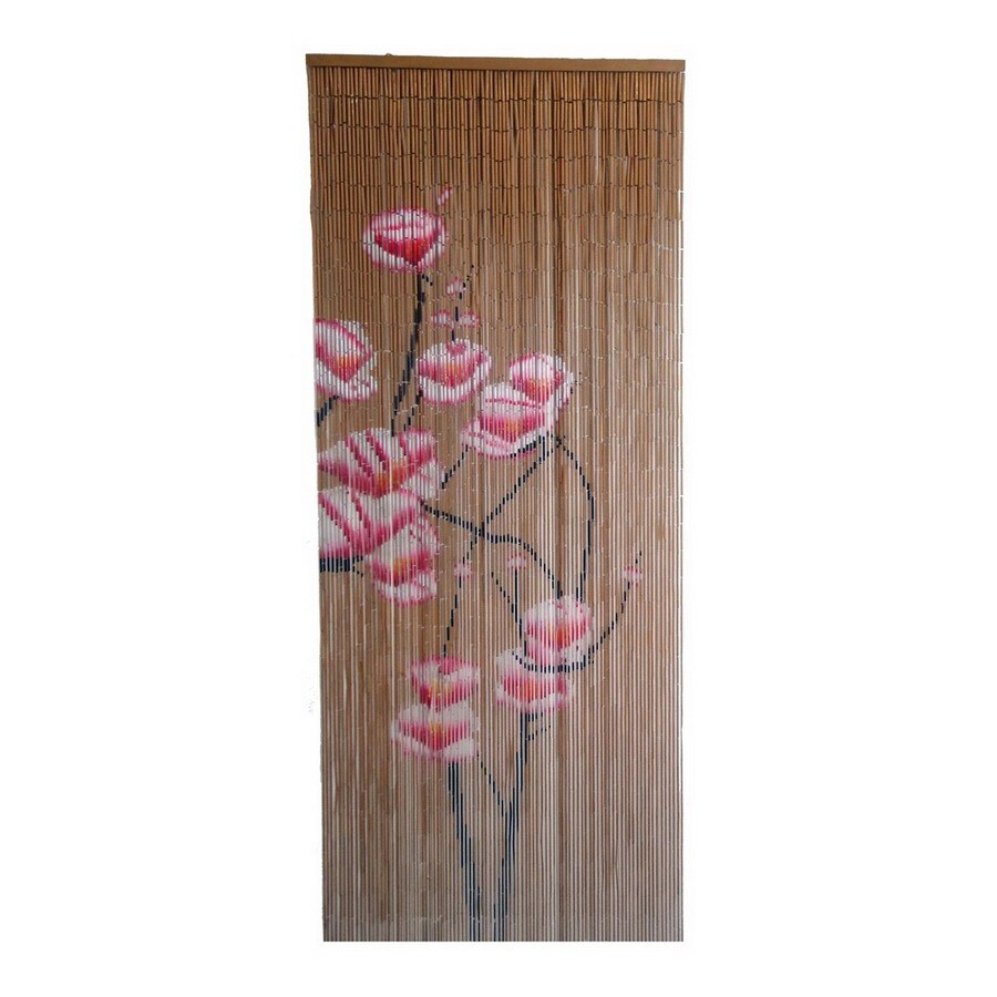 Bamboo 54 Pink Flowers 80-in Pink Bamboo Semi-Sheer Single Curtain Panel