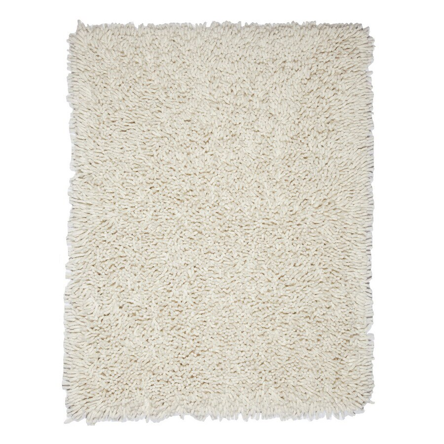 Anji Mountain Silky Shag Ivory Rectangular Indoor Shag Throw Rug (Common: 3 x 5; Actual: 3-ft W x 5-ft L)