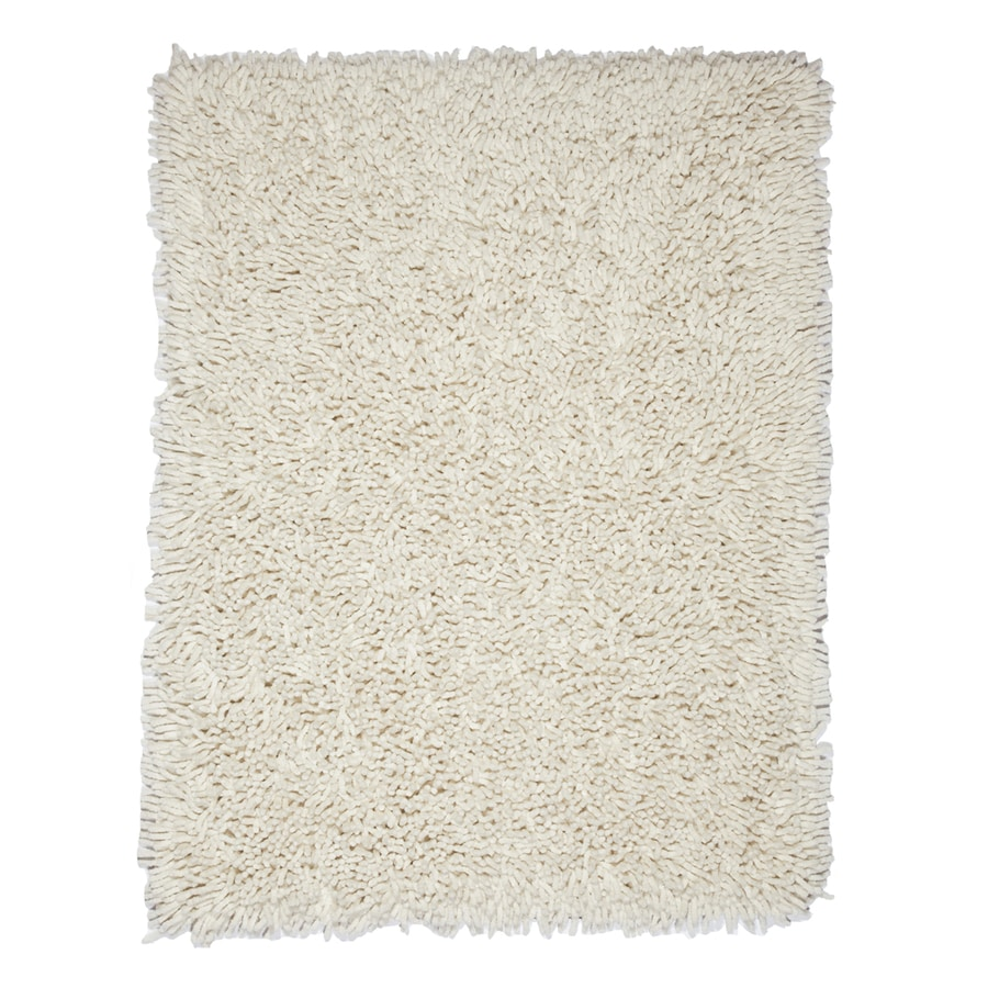 Anji Mountain Silky Shag Ivory Rectangular Indoor Area Rug (Common: 5 x 8; Actual: 60-in W x 96-in L)