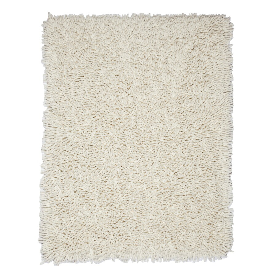 Anji Mountain Silky Shag Ivory Rectangular Indoor Shag Area Rug (Common: 5 x 8; Actual: 5-ft W x 8-ft L)
