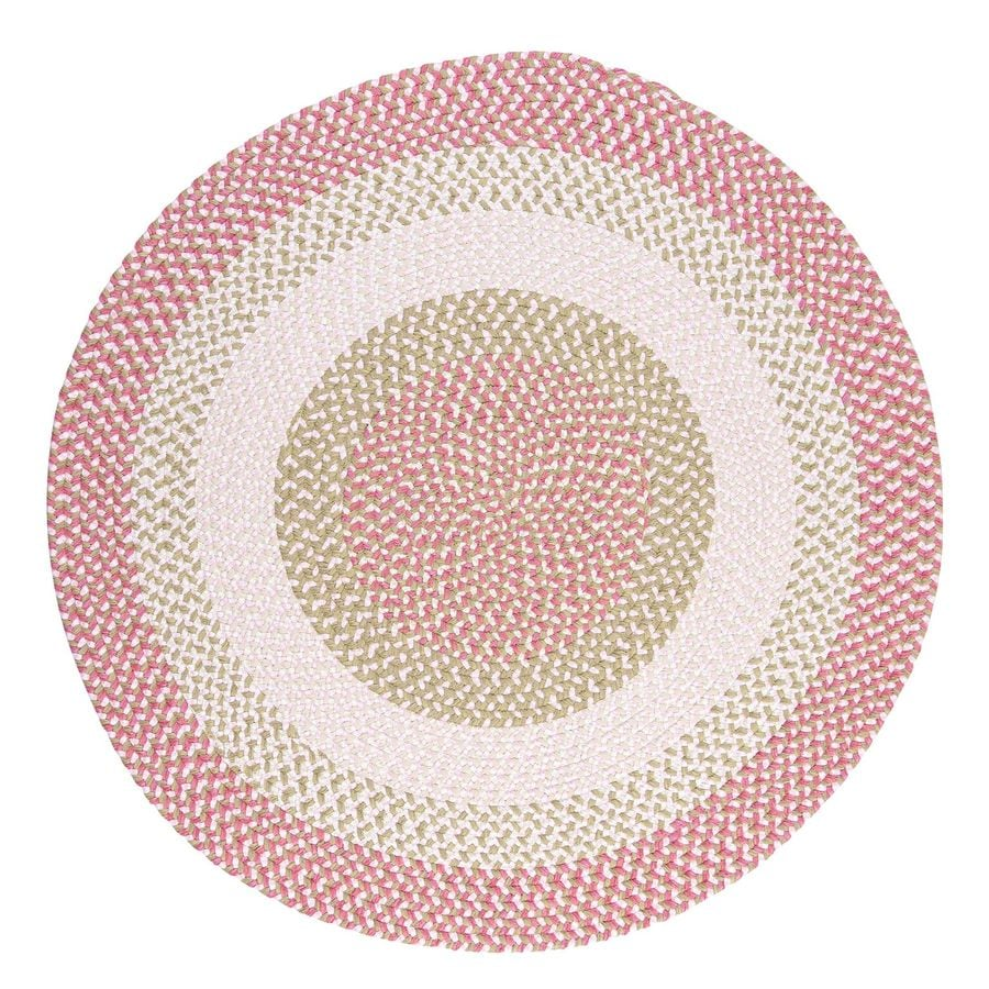 Colonial Mills Blokburst Tea Party Pink Round Indoor Braided Area Rug (Common: 6 x 6; Actual: 6-ft W x 6-ft L x 6-ft Dia)