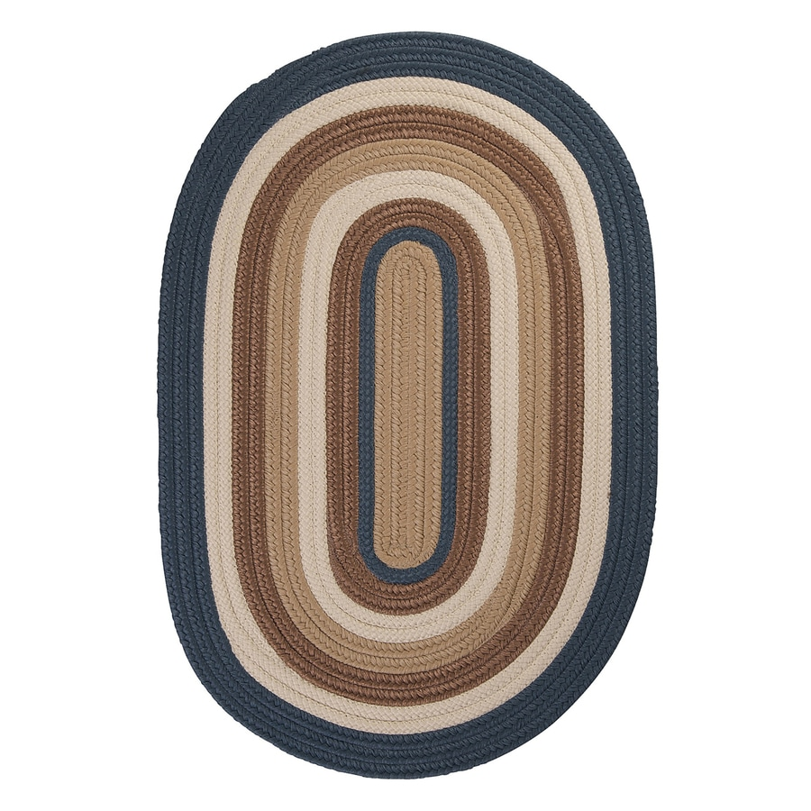 Colonial Mills Brooklyn Blue Haze Oval Indoor/Outdoor Braided Area Rug (Common: 7 x 9; Actual: 84-in W x 108-in L)