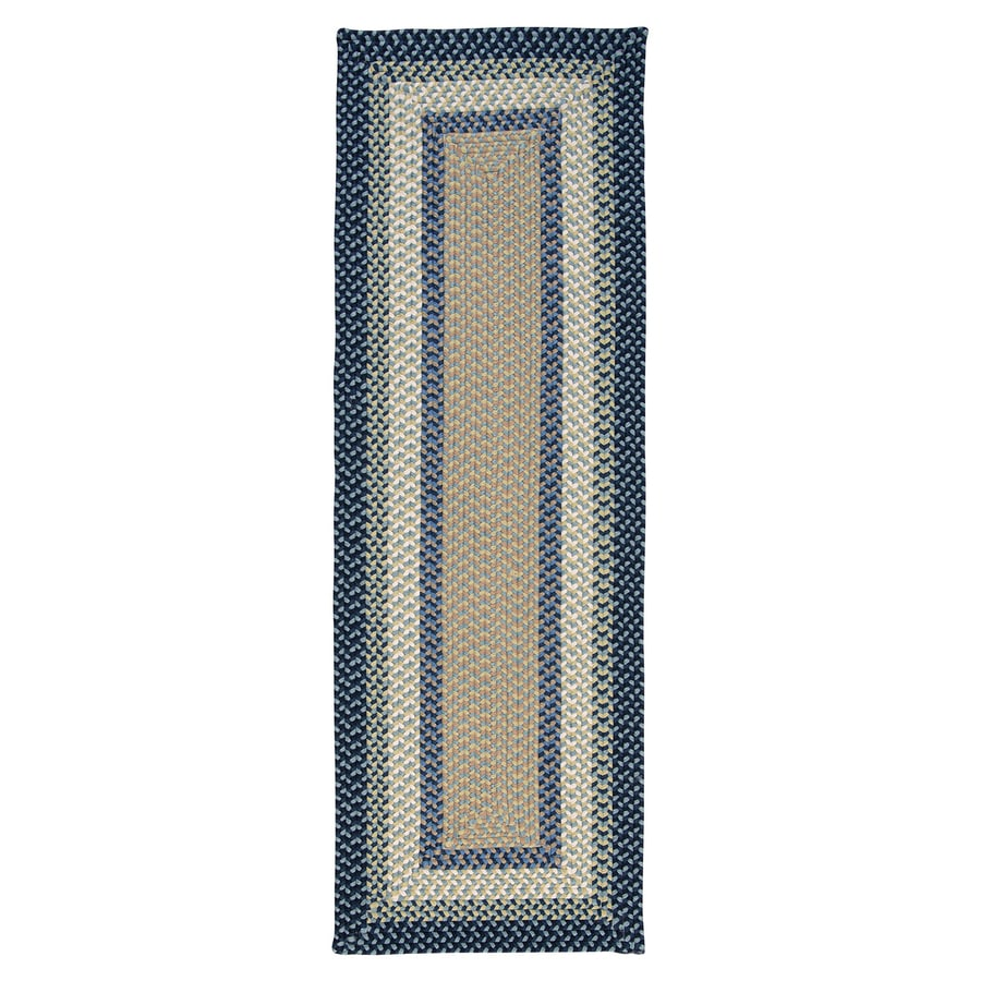 Colonial Mills Montego Blue Burst Rectangular Indoor/Outdoor Braided Runner (Common: 2 x 8; Actual: 24-in W x 96-in L)