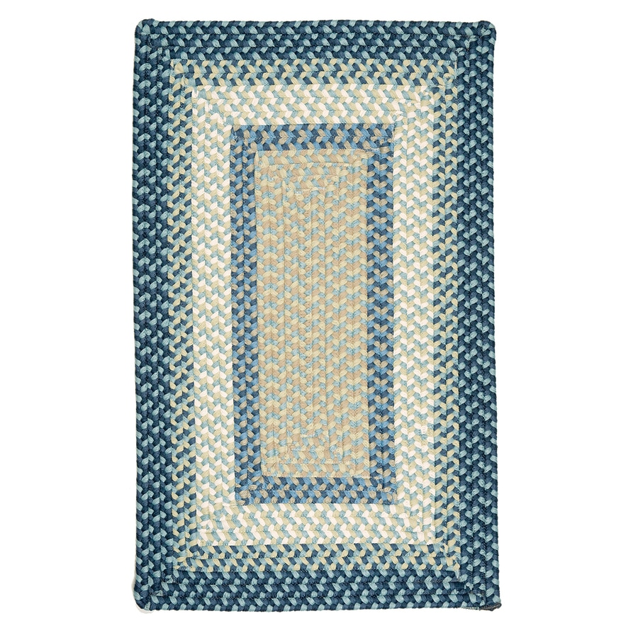 Colonial Mills Montego Blue Burst Rectangular Indoor/Outdoor Braided Area Rug (Common: 7 x 9; Actual: 7-ft W x 9-ft L)