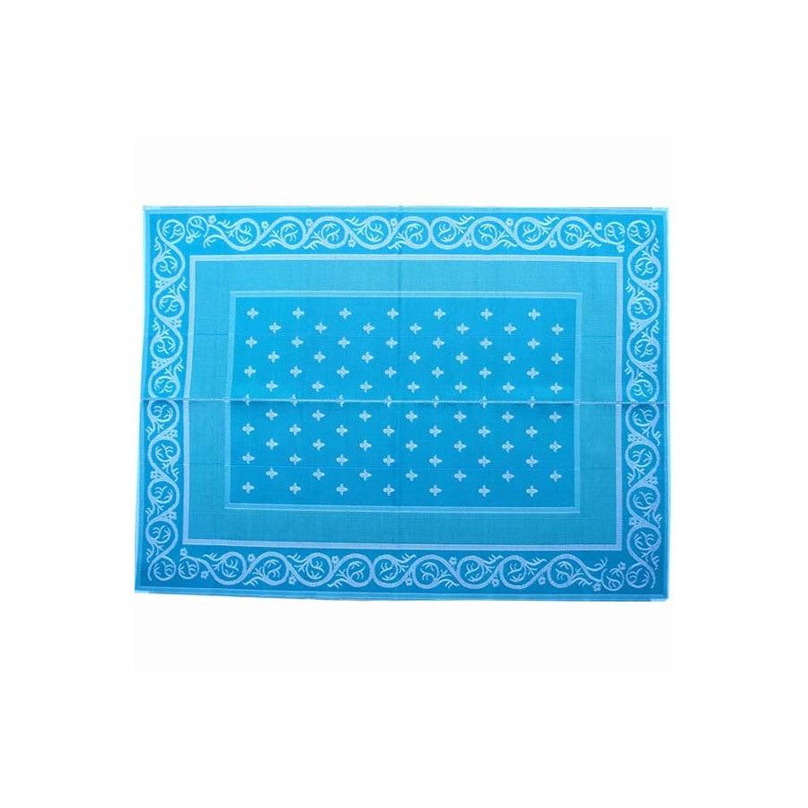 Attirant Patio Mats Royal 9 Ft X 12 Ft Rectangular Blue Floral Outdoor Area Rug