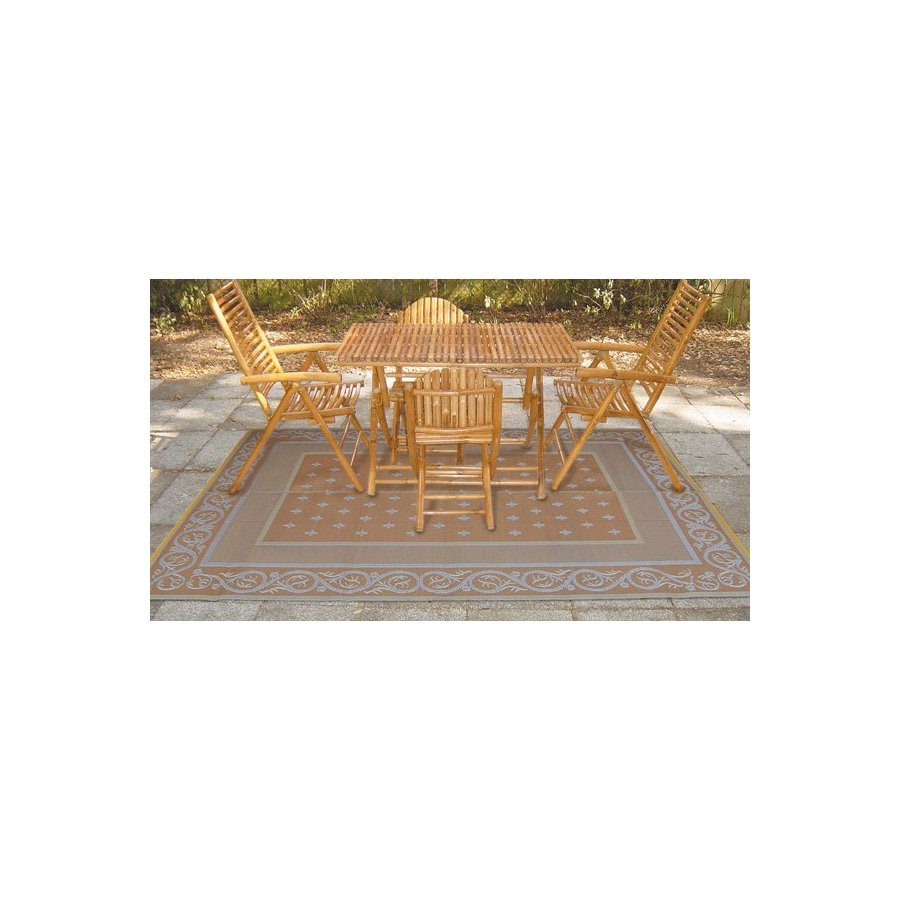 Patio Mats Royal 9-ft x 12-ft Rectangular Beige Floral Indoor/Outdoor Area Rug