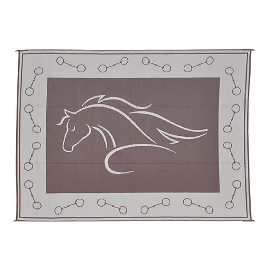 Superbe Patio Mats Horse Profile Rectangular Brown Animals Indoor/Outdoor Area Rug  (Common: 9