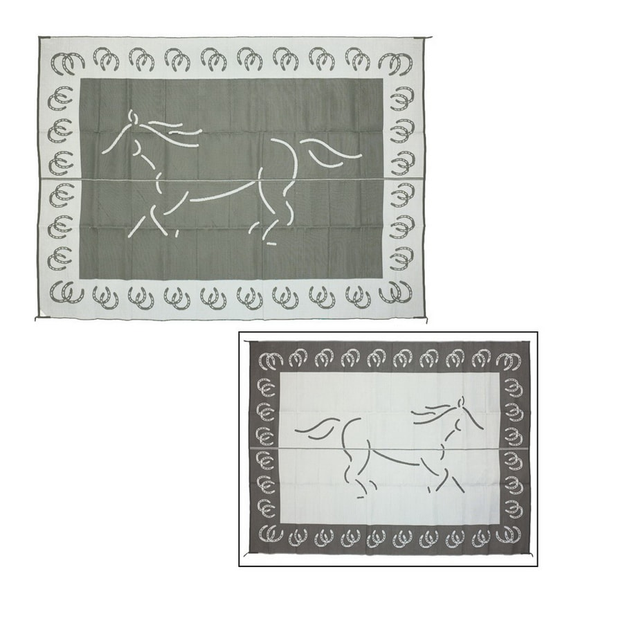 Patio Mats Horse Rectangular Black Animals Indoor/Outdoor Area Rug (Common: 9-ft x 12-ft; Actual: 9-ft x 12-ft)