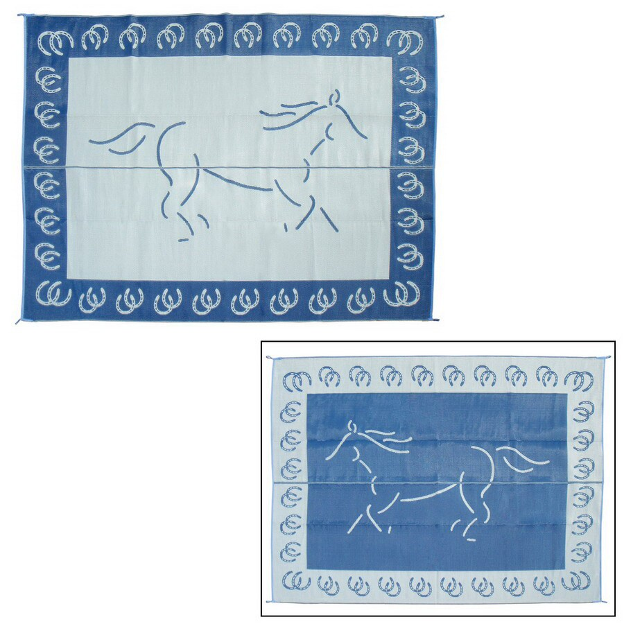 Patio Mats Horse Rectangular Blue Animals Indoor/Outdoor Area Rug (Common: 9-ft x 12-ft; Actual: 9-ft x 12-ft)