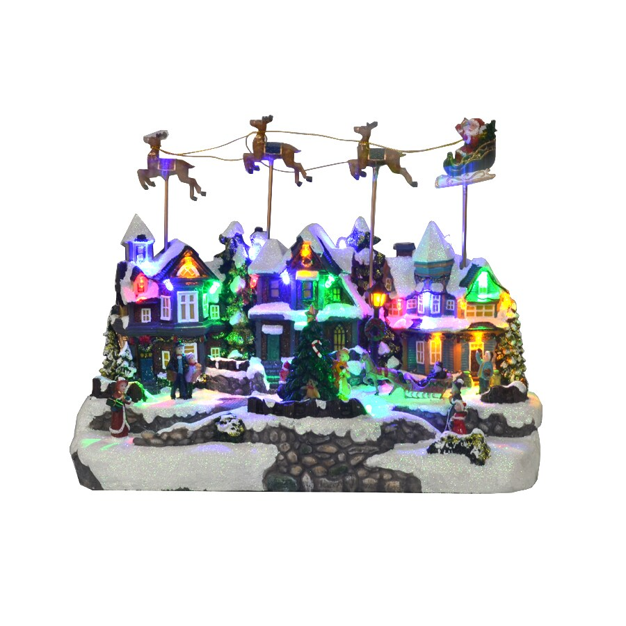 holiday living resin lighted animatronic santa fly village scene christmas collectible