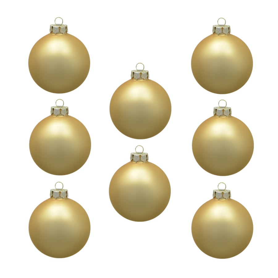 Holiday Living Metallic Light Gold Matte Ornament Set Lights