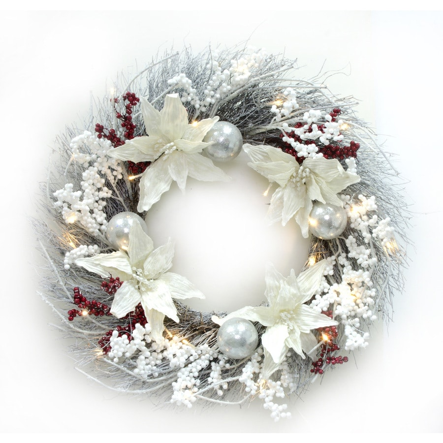 holiday living 30 in pre lit battery operated white twig artificial christmas wreath - Pre Lit Battery Operated Christmas Wreath