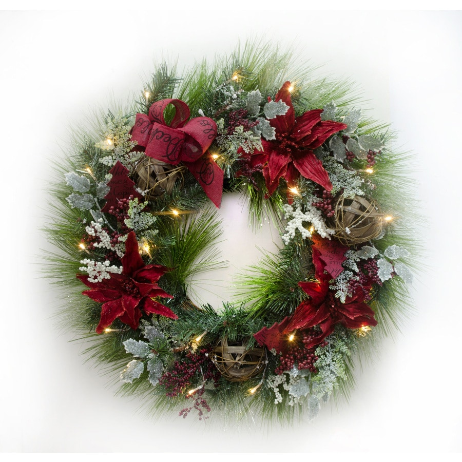 Prelit Christmas Wreath.Holiday Living 30 In Pre Lit Battery Operated Red Pine Artificial