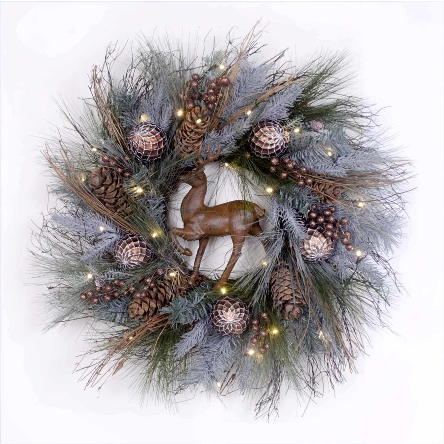 Holiday Living 30-in Pre-lit Indoor Battery-operated Brown Twig Artificial Christmas Wreath with White Warm White LED Lights