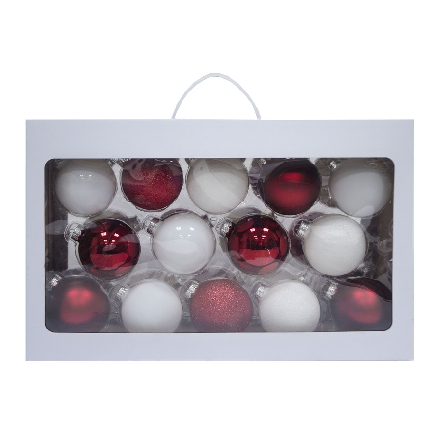 Holiday Living 28-Pack Red/White Ball Ornament Set