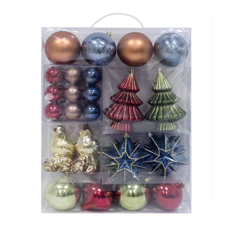 Holiday Living 34-Pack Brown/Green/Blue/Red/Gold Ornament Set