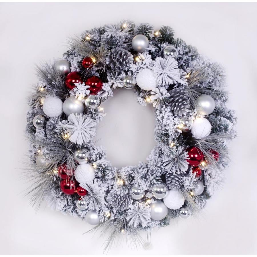 Holiday Living 30-in Pre-lit Battery-operated Multiple colors/finishes Wire Artificial Christmas Wreath with Yellow Warm White LED Lights