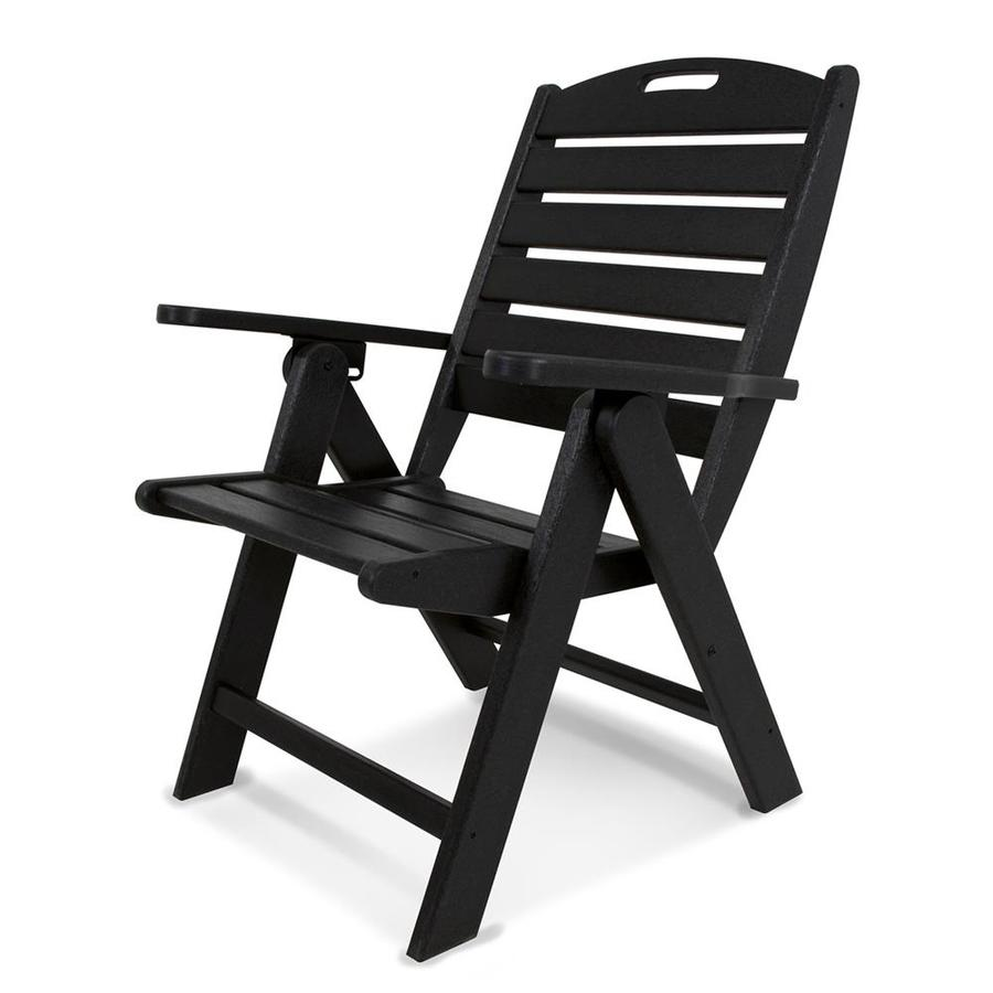 POLYWOOD Nautical Black Plastic Folding Patio Dining Chair