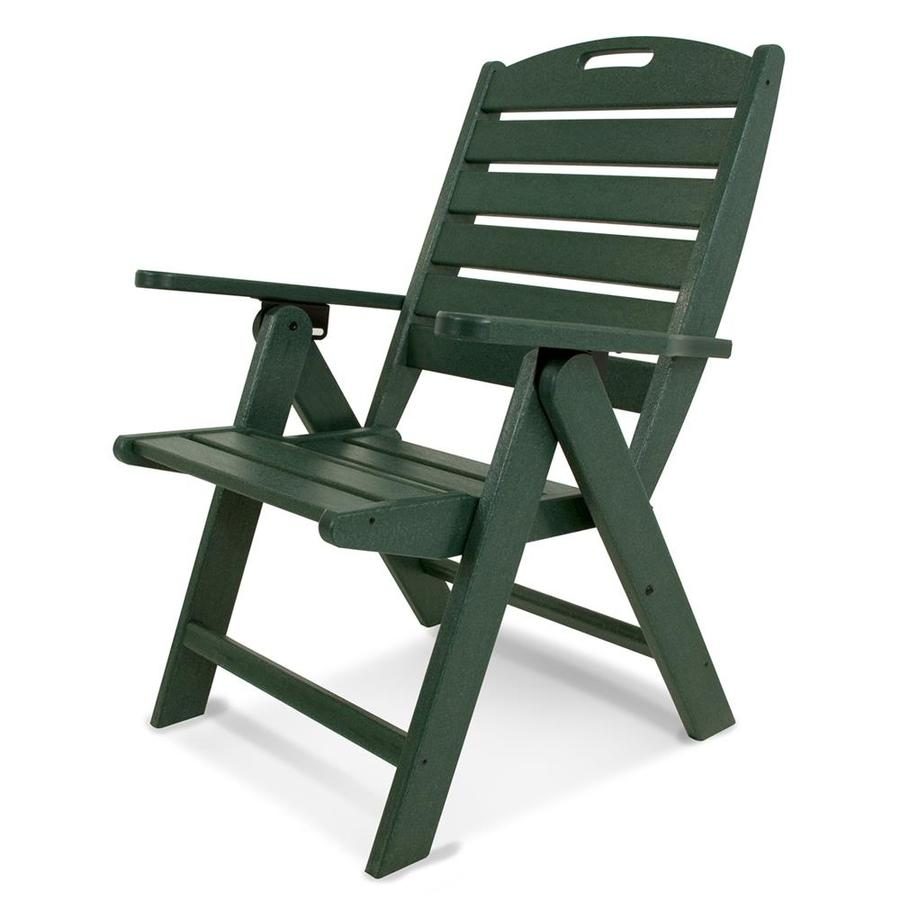 POLYWOOD Nautical Green Plastic Folding Patio Dining Chair