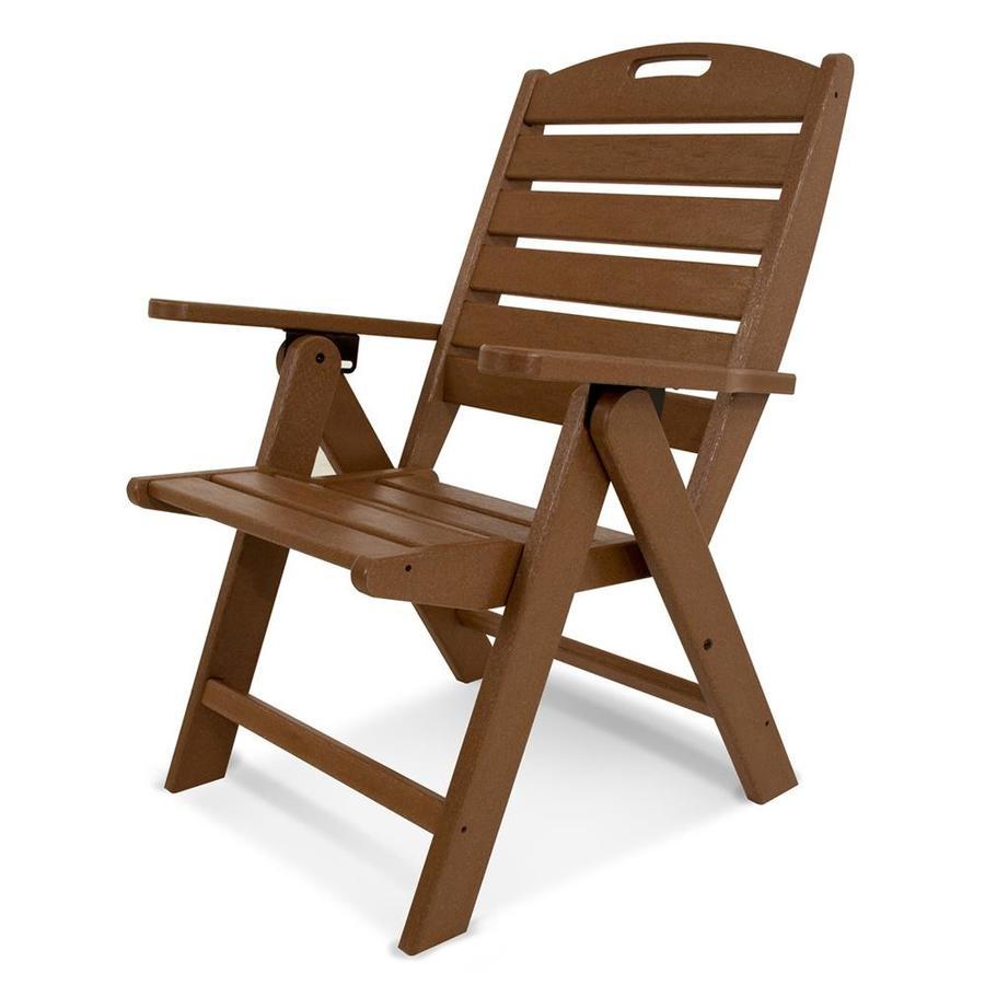 POLYWOOD Nautical Teak Plastic Folding Patio Dining Chair
