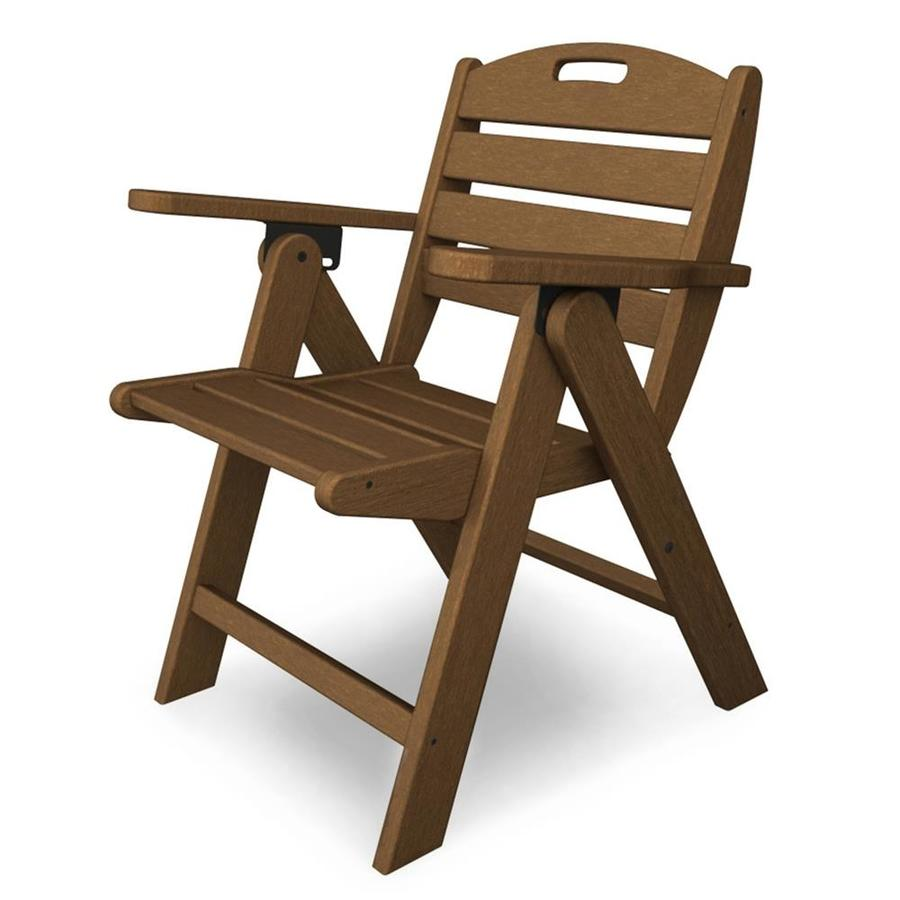 Shop POLYWOOD Nautical Teak Plastic Folding Patio Dining Chair At