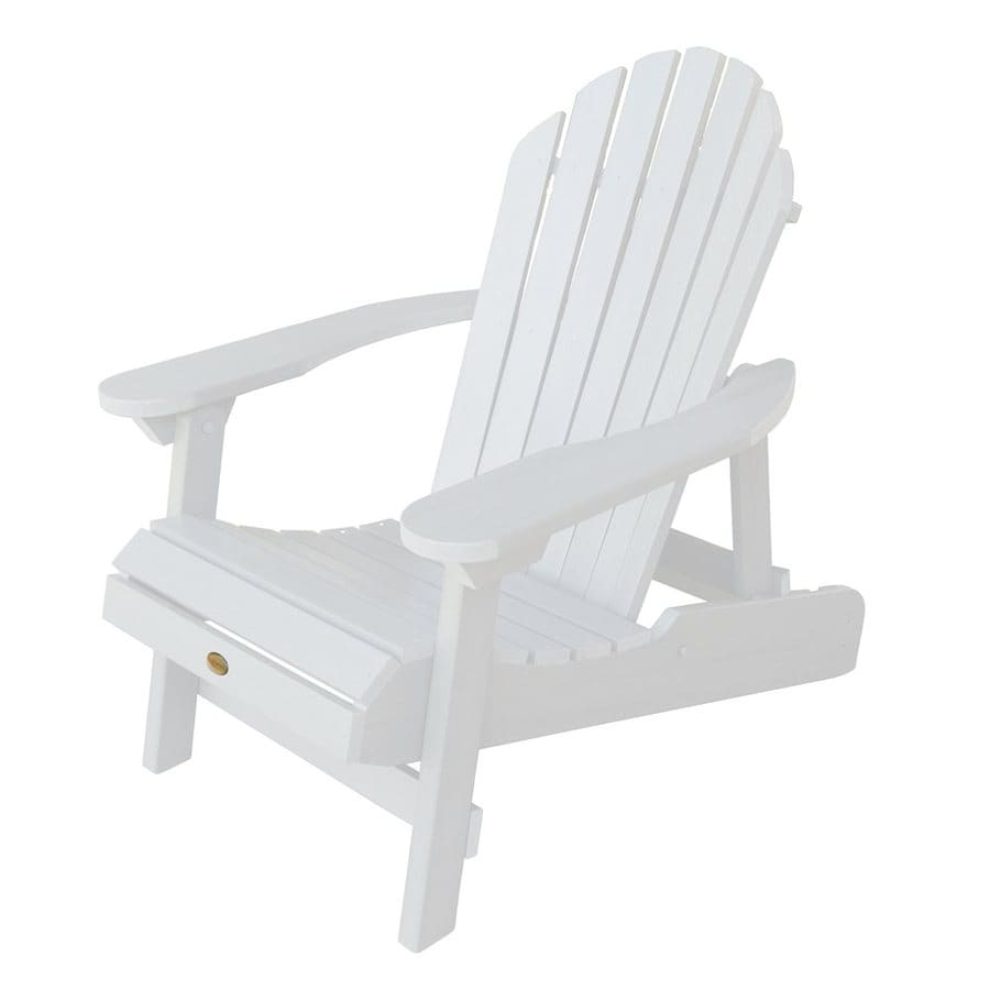 Highwood USA Hamilton White Plastic Folding Patio Adirondack Chair
