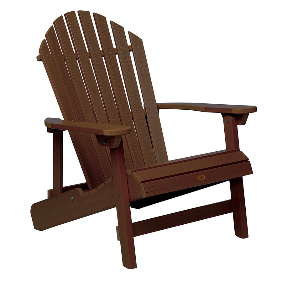 Highwood USA Hamilton Weathered Acorn Plastic Folding Patio Adirondack Chair