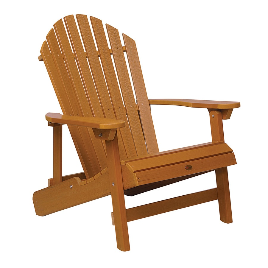 Highwood USA Hamilton Toffee Plastic Folding Patio Adirondack Chair