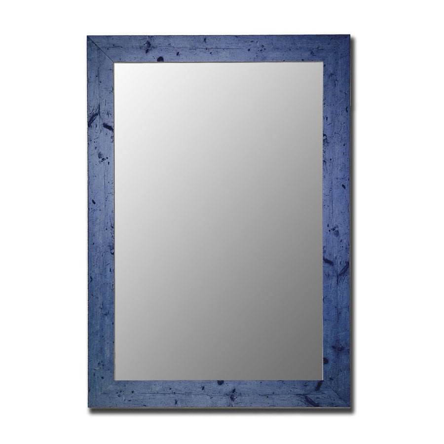 Hitchcock-Butterfield 34-in x 44-in Vintage Blue Beveled Rectangle Framed Wall Mirror