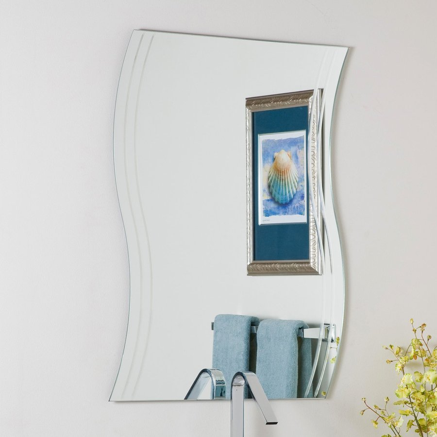 Shop decor wonderland wave 23 6 in x 31 5 in frameless for Mirror on mirror decorating for bathroom