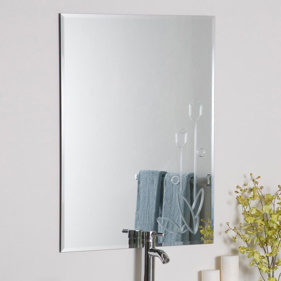Decor Wonderland 23.6-in W x 31.5-in H Rectangular Frameless Bathroom Mirror with Hardware and V-Groove Edges